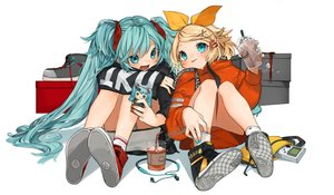 Rating: Safe Score: 24 Tags: 2girls aqua_eyes aqua_hair blonde_hair blush dress drink game_console gotoh510 hatsune_miku headphones hoodie kagamine_rin long_hair phone short_hair signed socks twintails vocaloid white User: otaku_emmy