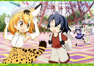 Rating: Safe Score: 14 Tags: animal_ears anthropomorphism black_hair blonde_hair bow catgirl clouds common_raccoon_(kemono_friends) elbow_gloves fennec_(kemono_friends) gloves group hat kaban kemono_friends pantyhose park scan serval short_hair shorts skirt sky tagme_(artist) tail thighhighs yellow_eyes User: RyuZU