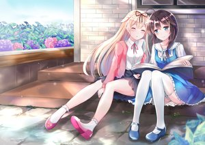 Rating: Safe Score: 121 Tags: 2girls aliasing anthropomorphism book building flowers kantai_collection shigure_(kancolle) sleeping socks stairs tailam thighhighs yuudachi_(kancolle) User: FormX