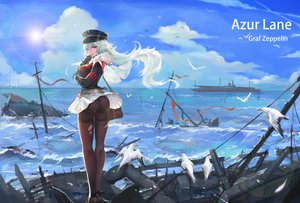 Rating: Safe Score: 39 Tags: animal anthropomorphism ass azur_lane bird boat cape clouds gloves graf_zeppelin_(azur_lane) guernica hat long_hair military pantyhose pink_eyes scenic skirt sky torn_clothes uniform water white_hair User: BattlequeenYume