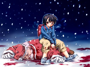 Rating: Questionable Score: 21 Tags: blood christmas hat nevada santa_claus santa_costume santa_hat User: Oyashiro-sama