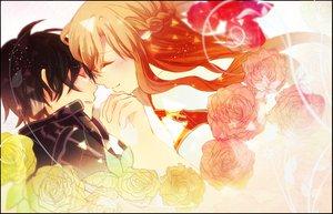 Rating: Safe Score: 113 Tags: black_hair blush brown_hair crying flowers kirigaya_kazuto sword_art_online yuuki_asuna User: Shinigami-Seed