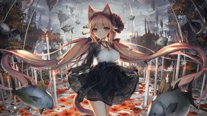 Rating: Safe Score: 73 Tags: animal animal_ears blonde_hair bow breasts brown_eyes catgirl cleavage dress fish flowers jakoujika original tail twintails User: BattlequeenYume