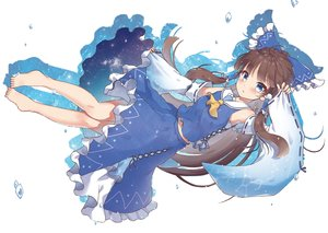 Rating: Safe Score: 71 Tags: aqua_eyes barefoot beni_kurage blush bow brown_hair clouds hakurei_reimu japanese_clothes long_hair miko sky stars touhou twintails water white User: otaku_emmy