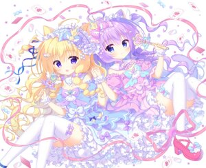 Rating: Safe Score: 49 Tags: 2girls animal_ears blonde_hair blue_eyes blush bow breasts candy catgirl crown dress headdress kamishiro_piyo loli lolita_fashion long_hair original purple_eyes purple_hair ribbons stars tail thighhighs wand wristwear User: 蕾咪