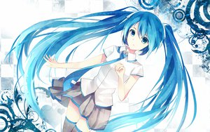 Rating: Safe Score: 97 Tags: bisonbison blue_eyes blue_hair hatsune_miku long_hair skirt thighhighs tie twintails vocaloid white User: mikulover