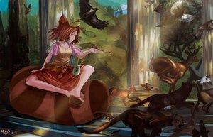 Rating: Safe Score: 102 Tags: animal animal_ears bird brown_hair bunny fox futatsuiwa_mamizou magician_(artist) red_eyes short_hair signed tail touhou User: RyuZU