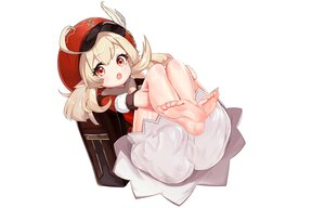 Rating: Questionable Score: 49 Tags: barefoot blonde_hair bloomers cameltoe dress feathers genshin_impact hat klee_(genshin_impact) loli pointed_ears red_eyes tagme_(artist) twintails upskirt white User: otaku_emmy