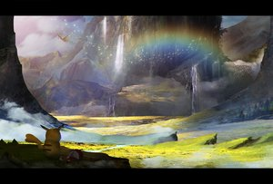 Rating: Safe Score: 51 Tags: animal bird forest grass hat ho-oh landscape otsumami_(bu-bu-heaven) pikachu pokemon rainbow scenic tree water waterfall User: FormX