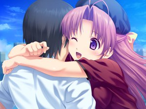 Rating: Safe Score: 23 Tags: aoi_matsuri game_cg hug koutaro pink_hair purple_eyes tropical_kiss User: Wiresetc