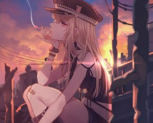 Rating: Safe Score: 37 Tags: 778-go bandaid blonde_hair cigarette clouds cropped hat kneehighs long_hair original purple_eyes smoking sunset wristwear User: mattiasc02