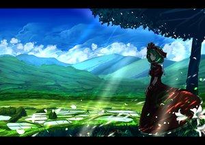 Rating: Safe Score: 85 Tags: dress flowers green_eyes green_hair headdress kagiyama_hina landscape long_hair petals scenic touhou tree umigarasu_(kitsune1963) wristwear User: Flandre93