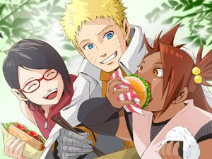 Rating: Safe Score: 32 Tags: akimichi_chouchou aqua_eyes bandage black_hair blonde_hair brown_eyes brown_hair dark_skin food glasses kero_(23690272) long_hair male naruto short_hair uchiha_sarada uzumaki_naruto User: RyuZU