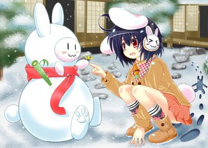 Rating: Safe Score: 42 Tags: animal_ears boots bunnygirl hidamari_(artist) inaba_tewi red_eyes skirt snow tail touhou User: opai