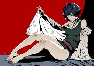 Rating: Questionable Score: 33 Tags: barefoot black_hair breasts brown_eyes cleavage dress nanaya_(daaijianglin) necklace persona persona_5 polychromatic red short_hair signed takemi_tae User: RyuZU