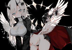Rating: Questionable Score: 82 Tags: aliasing aqua_eyes blush breasts horns long_hair naruwe navel original white_hair wings User: BattlequeenYume