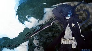 Rating: Safe Score: 92 Tags: black_hair black_rock_shooter blue_eyes genderswap kuroi_mato scar signed sword weapon User: max7238