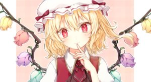 Rating: Safe Score: 43 Tags: blonde_hair blush close flandre_scarlet flowers hat honotai pointed_ears red_eyes rose short_hair touhou vampire wings User: otaku_emmy