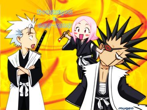 Rating: Safe Score: 56 Tags: black_hair bleach chibi eyepatch hitsugaya_toushirou kusajishi_yachiru male pink_hair short_hair sword weapon white_hair zaraki_kenpachi User: Oyashiro-sama
