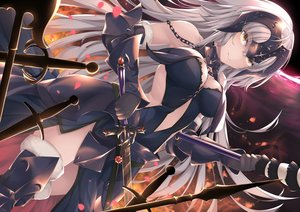 Rating: Safe Score: 64 Tags: aliasing armor breasts cleavage elbow_gloves fate/grand_order fate_(series) gloves gray_hair headdress jeanne_d'arc_alter jeanne_d'arc_(fate) kana616 long_hair sword thighhighs weapon white_hair yellow_eyes User: BattlequeenYume
