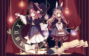 Rating: Safe Score: 108 Tags: 2girls animal_ears aqua_eyes braids bunny_ears bunnygirl green_eyes hat kuromomo lolita_fashion long_hair original witch_hat User: Salri