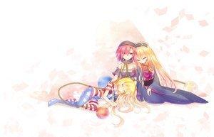 Rating: Safe Score: 8 Tags: ball blonde_hair bondage chain clownpiece collar hecatia_lapislazuli junko long_hair pantyhose pink_hair red_eyes ribbons short_hair sleeping touhou z.o.b User: RyuZU