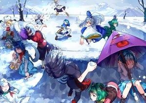 Rating: Safe Score: 71 Tags: futatsuiwa_mamizou group hat hijiri_byakuren houjuu_nue japanese_clothes kaku_seiga kasodani_kyouko kumoi_ichirin miyako_yoshika mononobe_no_futo mousegirl murasa_minamitsu nazrin skirt snow soga_no_tojiko tatara_kogasa thighhighs toramaru_shou touhou toyosatomimi_no_miko umbrella unzan uu_uu_zan User: Flandre93