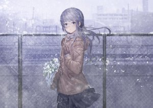 Rating: Safe Score: 120 Tags: building flowers gloves koruse long_hair original petals purple_eyes purple_hair skirt snow winter User: RyuZU