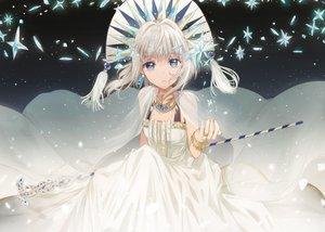 Rating: Safe Score: 69 Tags: blue_eyes cape dangmill dress headdress necklace original staff white_hair wristwear User: luckyluna