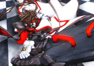 Rating: Safe Score: 35 Tags: brown_hair fang gloves guilty_gear long_hair sol_badguy weapon yellow_eyes User: Dust