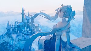 Rating: Safe Score: 77 Tags: blue_eyes blue_hair building cape dress hatsune_miku long_hair mimengfeixue polychromatic snow tiara tree twintails vocaloid yuki_miku User: sadodere-chan