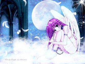 Rating: Questionable Score: 31 Tags: angel blue_eyes chain clouds collar feathers long_hair moon nude pink_hair sky stars suzuhira_hiro wings User: Oyashiro-sama