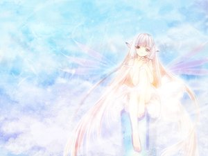 Rating: Safe Score: 6 Tags: chii chobits clamp wings wings_of_beauty User: Oyashiro-sama