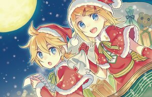 Rating: Safe Score: 21 Tags: blonde_hair blue_eyes christmas close gloves hat kagamine_len kagamine_rin moon night short_hair snow tagme_(artist) vocaloid User: Maboroshi