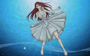 Rating: Safe Score: 58 Tags: barefoot breasts brown_eyes cleavage dress erza_scarlet fairy_tail long_hair red_hair underwater water watermark User: 秀悟