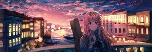 Rating: Safe Score: 62 Tags: building camera city clouds guitar instrument lium long_hair original pink_eyes pink_hair sky sunset User: Fepple