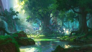 Rating: Safe Score: 136 Tags: all_male animal bird forest grass green landscape ling_xiang male original scenic signed tree water User: RyuZU