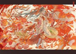 Rating: Safe Score: 42 Tags: animal apron aqua_eyes black_hair fan fish japanese_clothes kimono long_hair nanahara_shie original ponytail red water User: otaku_emmy