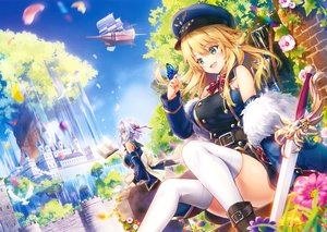 Rating: Safe Score: 107 Tags: 2girls airship animal bird blonde_hair breasts butterfly cropped flowers gray_hair green_eyes hat long_hair original petals riichu scan short_hair sky sword thighhighs tree water weapon yellow_eyes User: Nepcoheart