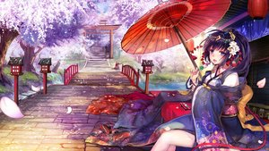 Rating: Safe Score: 8 Tags: blue_eyes blue_hair blush cherry_blossoms flowers food japanese_clothes long_hair original petals ponytail spirtie stairs torii tree umbrella User: RyuZU