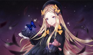 Rating: Safe Score: 13 Tags: abigail_williams_(fate/grand_order) aqua_eyes blonde_hair bow butterfly fate/grand_order fate_(series) feathers hat jeyrin52 long_hair sky stars teddy_bear User: otaku_emmy