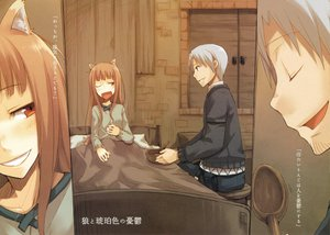 Rating: Safe Score: 27 Tags: animal_ears bed craft_lawrence gray_hair horo long_hair orange_hair red_eyes short_hair spice_and_wolf tail wink wolfgirl User: 秀悟