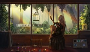 Rating: Safe Score: 70 Tags: animal barefoot blonde_hair butterfly cage dress long_hair mirror mouse original phone red_eyes scenic signed tree yurichtofen User: FormX