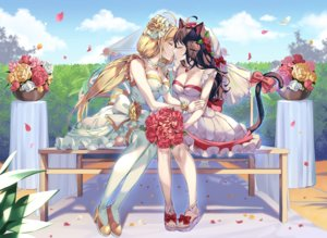 Rating: Safe Score: 106 Tags: 2girls animal_ears blonde_hair blush breasts brown_hair catgirl cleavage clouds dress flowers kiss long_hair original pinb rose shoujo_ai sky tail thighhighs twintails watermark wedding wedding_attire User: BattlequeenYume
