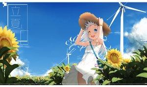 Rating: Safe Score: 87 Tags: bicolored_eyes blush cg_(2686805355) clouds dress fang flowers hat kagura_mea kagura_mea_channel loli long_hair sky summer_dress sunflower white_hair windmill wristwear User: otaku_emmy