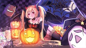 Rating: Safe Score: 42 Tags: blonde_hair breasts candy cleavage garter_belt goditsuka halloween horns long_hair ragnarok_online red_eyes stockings tagme_(character) twintails zettai_ryouiki User: mattiasc02