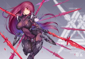 Rating: Safe Score: 89 Tags: blush bodysuit breasts fate/grand_order fate_(series) long_hair navel nidy-2d- petals purple_hair red_eyes scathach_(fate/grand_order) skintight skirt_lift spear watermark weapon User: RyuZU