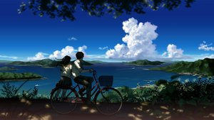 Rating: Safe Score: 107 Tags: amemura_(caramelo) bicycle black_hair boat clouds landscape long_hair male original scenic seifuku shade short_hair skirt sky water User: Flandre93