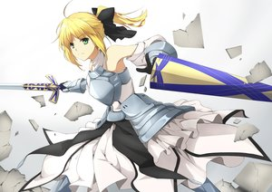 Rating: Safe Score: 125 Tags: armor artoria_pendragon_(all) blonde_hair ello-chan fate_(series) fate/stay_night green_eyes ponytail saber saber_lily sword weapon User: CgGirl
