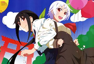 Rating: Safe Score: 30 Tags: 2girls akiba_touru bakemonogatari black_hair clouds dress hachikuji_mayoi long_hair monogatari_(series) owarimonogatari red_eyes scan sengoku_nadeko short_hair torii watermark white_hair zoku_owarimonogatari User: RyuZU